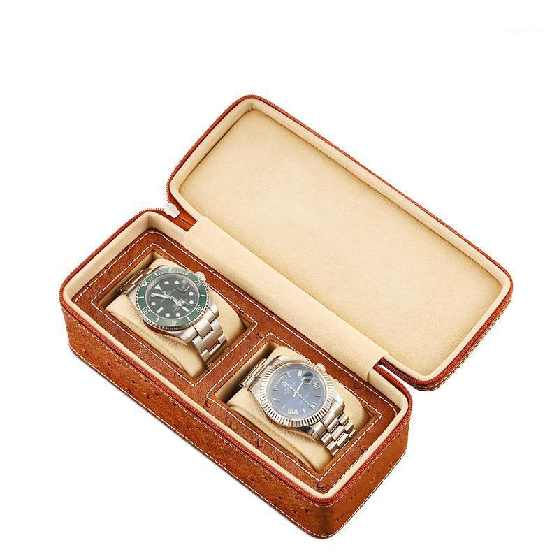 Watch Boxes & Cases PU Leather Rectangle Box Holder Organiser Brown Storage Display Case 2 Grids Travel Watches Bracelets 1