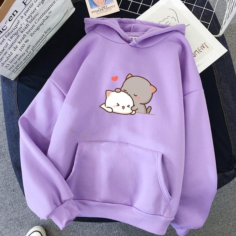 Mujeres otoño sudadera con capucha sudaderas de moda coreana con capucha para damas kawaii anime jumper streetwear plus sweatshirts pareja