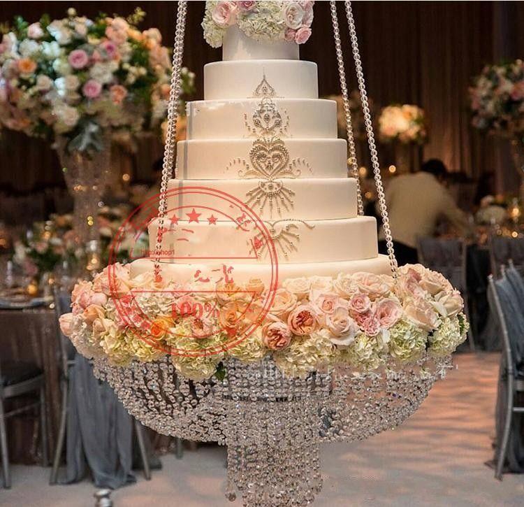 Lüks Kristal Asılı Kek Raf Düğün Kek Standı Şeffaf Kristal Boncuk Akrilik Çiçek Standı Düğün Masa Merkezi