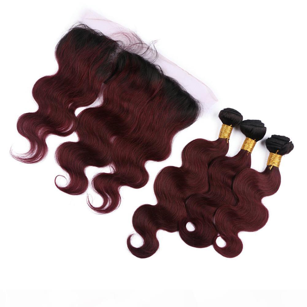 Burgundy Ombre Hair с кружевной лобной двумя тонами темный корня 99J кузовной волна с кружевной лобной 99J пакеты волос с кружевной фронтальными