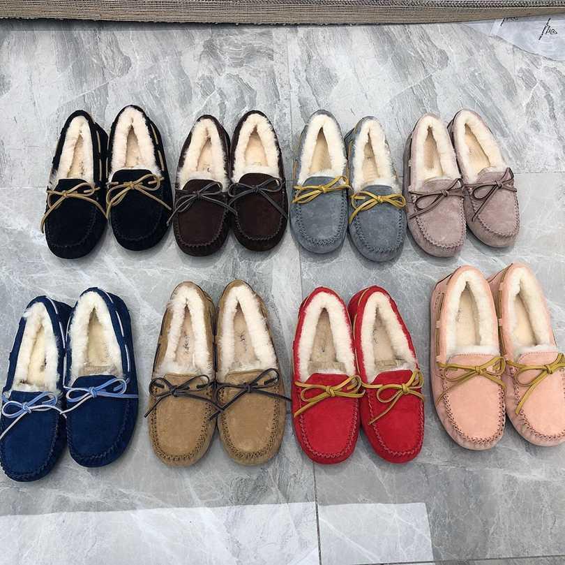 Новый лук ленты снега повседневная обувь неглубокий рот женщины теплые хлопковые бобовые туфли высокого качества с коробкой