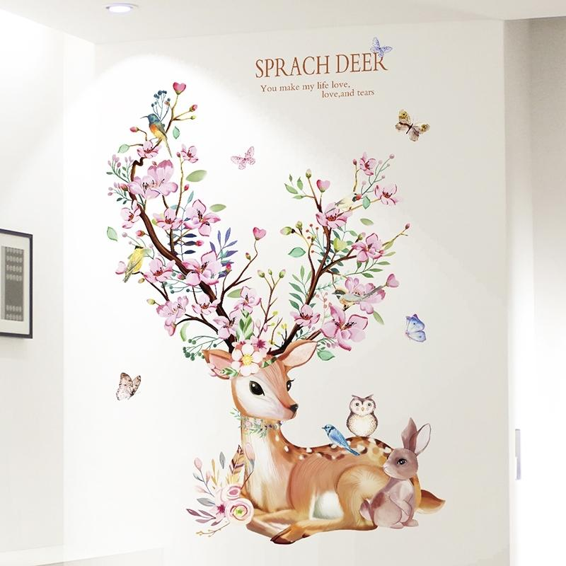 [Shijuekongjian] Cosvio Conejo Animal Etiquetas de Pared DIY Flores Lapeles de Pared para House Kids Rooms Baby Dormitorio Decoración 201130