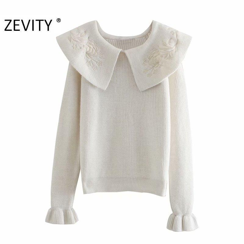 Zevity Nouveaux Femmes Femmes Mode Flower Broderie Turn Collier Casual Casual Pull Sweater Femelle Chic Sleeve Pullovers Tops S431 J1202