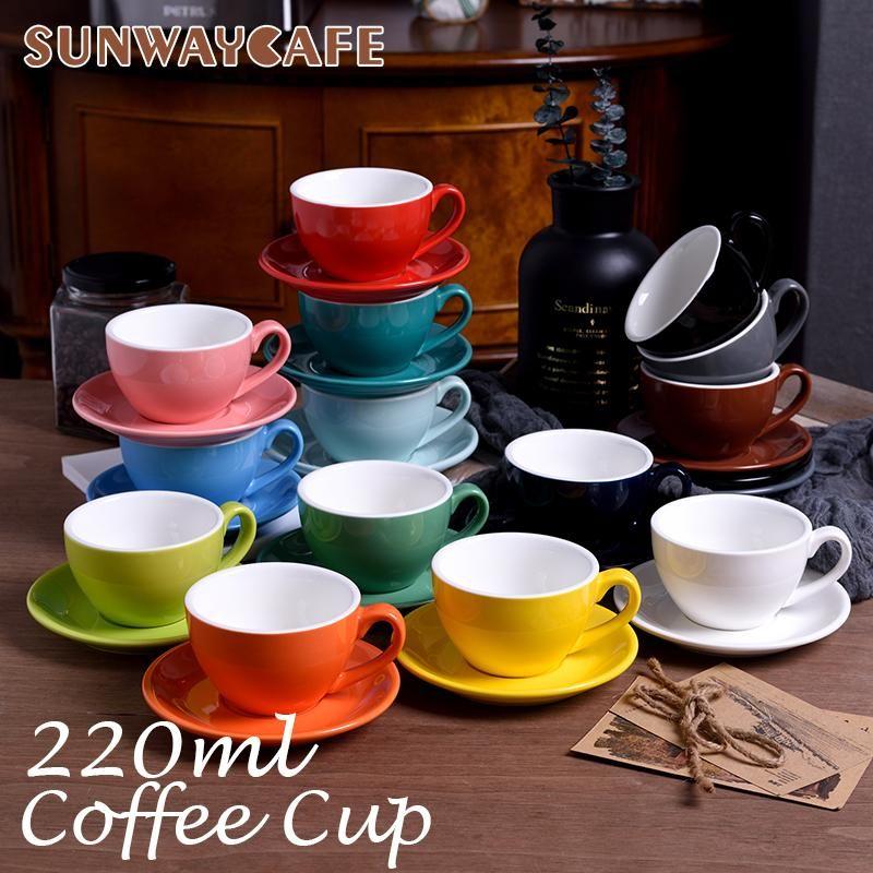 220 ml Tazas de café de cerámica de alto grado de alta calidad Conjunto de taza de estilo europeo simple Taza Cappuccino Tazas de flores Latte