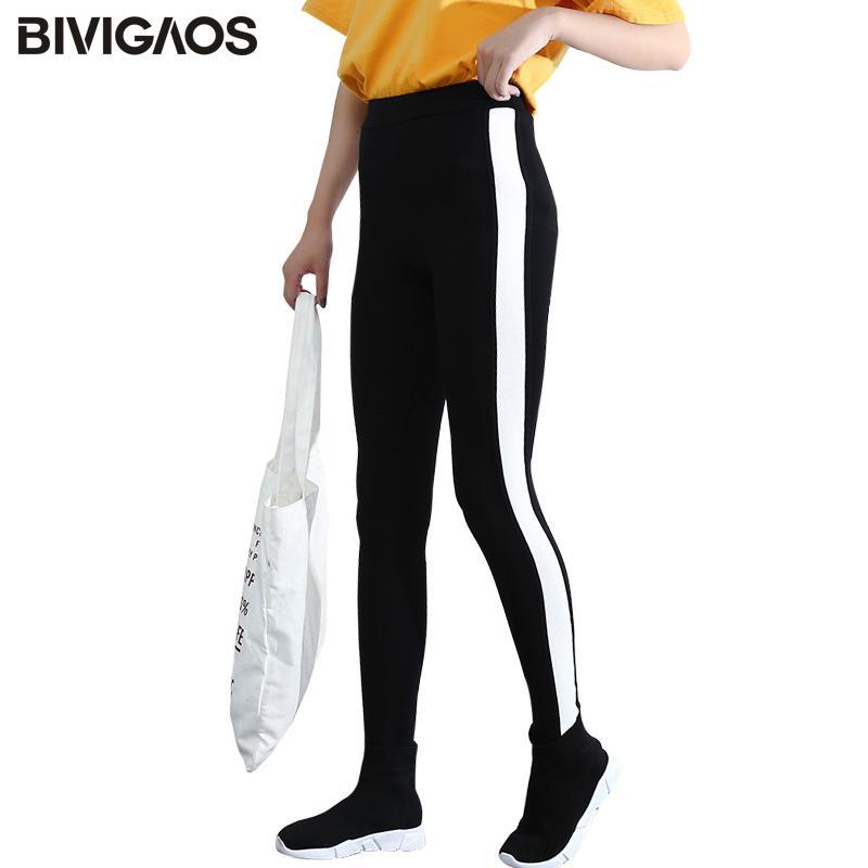 Bivigaos Automne Hiver Black Blanc Stripes Couleur Contraste Couleur Épaissir Leggings Coton Femme Entraînement Leggings Pantalons Femmes Q1119