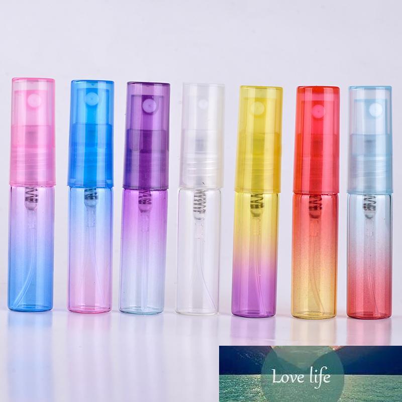 30 unids / lote 5 ml Botella de perfume de cristal colorido 5ml Atomizador de viaje de la botella de la botella de la niebla rellenaria