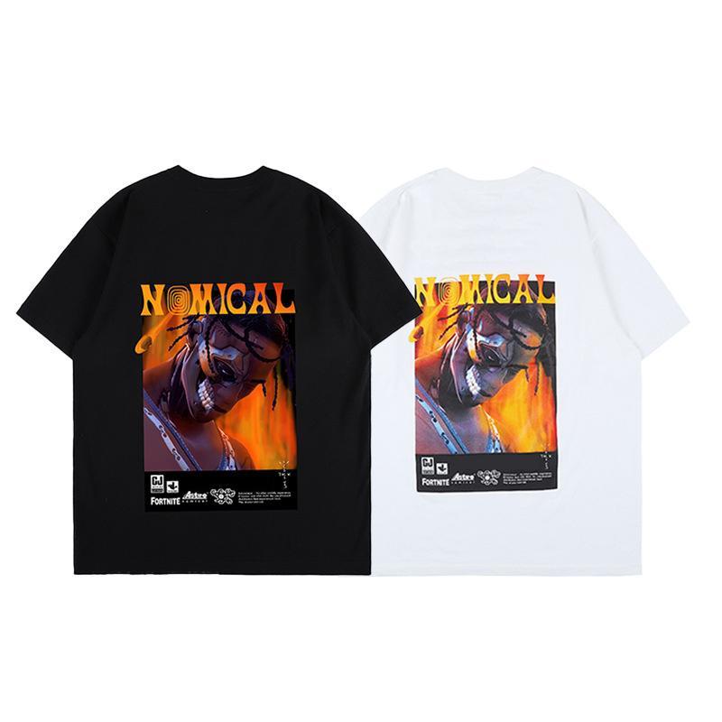 유럽 여름 ins hot fower dj 힙합 두개골 마스크 사진 티 스케이트 보드 망 셔츠 여성 거리 캐주얼 티셔츠