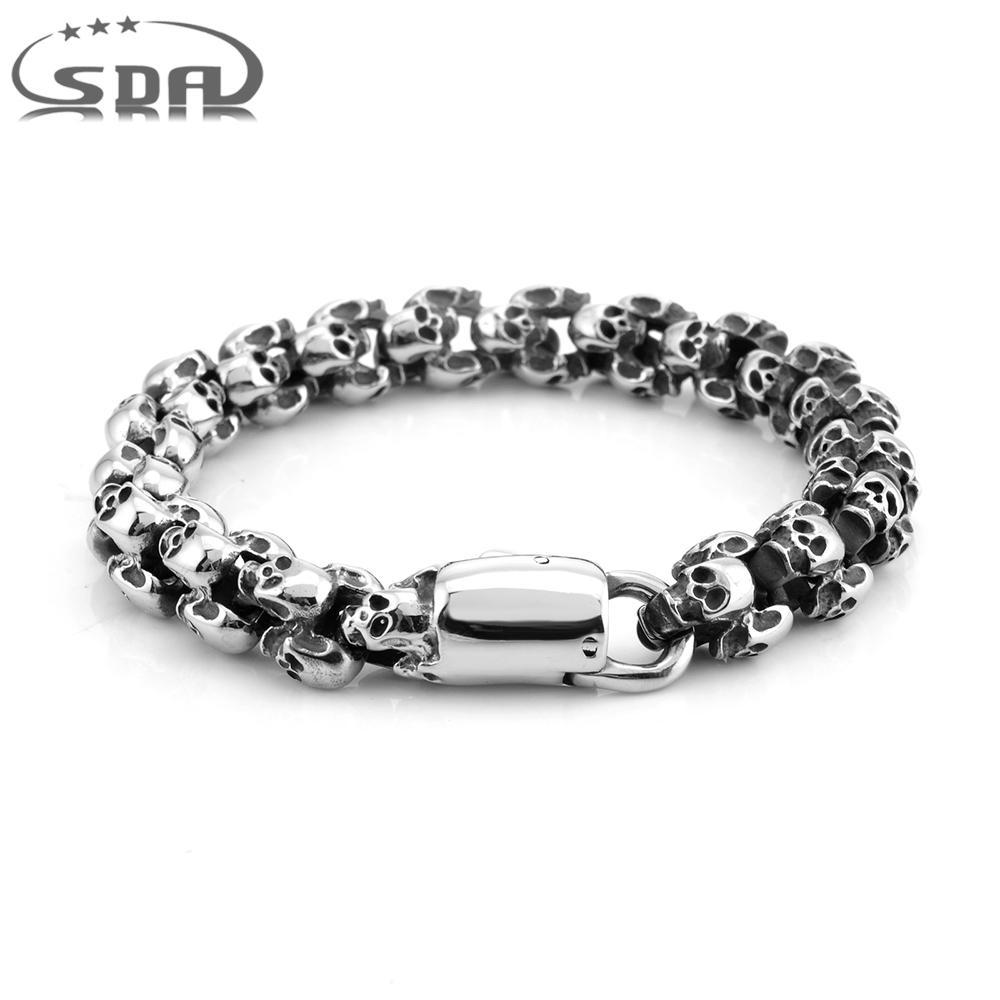 Punk Rock Skull Bracelets For Men Stainless Steel Skull Charm Link Chain Bracelets Male Hip Jewelry B1983
