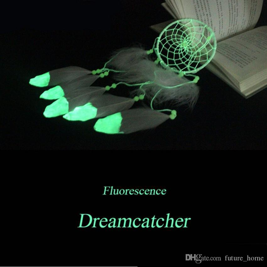 Hindistan Floresan Dreamcatcher Noctilucous Rüzgar Çanları Kolye Tüy Dream Catcher Duvar Asılı Dekorasyon Aydınlık Moda Hediye
