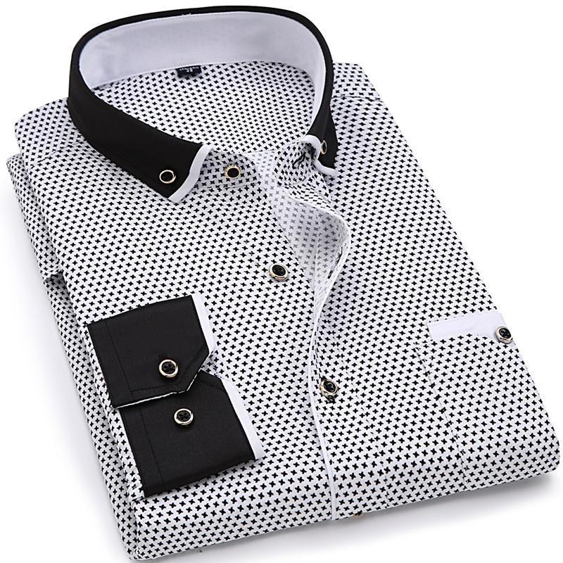Erkek Casual Gömlek Marka Giyim 2021 Erkekler Moda Uzun Kollu Baskılı Gömlek Turn-down Yaka Slim Fit Erkek Sosyal İş Elbise