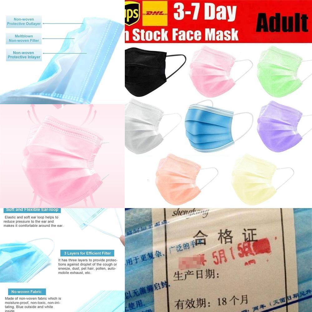 Maschere usa e getta 8 colori Nero Rosa Bianco con l'orecchio Elastic Loop 3 pieghe traspirante aria della polvere Anti-Pollution Viso MaskoutletXUYD