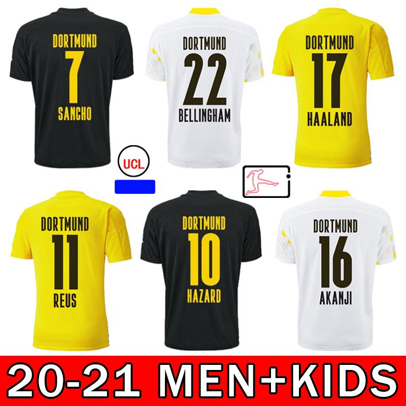 2021 Jersey de futebol Haaland Reus Ruse Brandt E.Can Hakimi Sancho Reyna 20 21 fãs Versão Adulto + Kids Kit Football Shirt