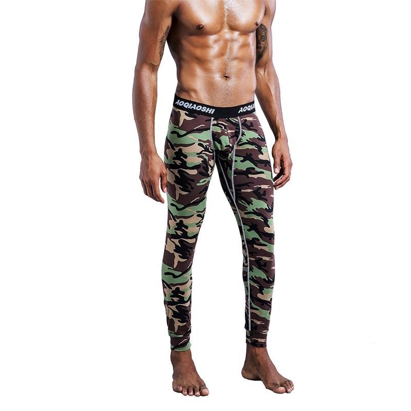 Coton Long Johns Johns Man Camouflage Camouflage Pantalons Pantalons chauds Pantalons Sous-robe des pantalons serrés d'hiver 201223