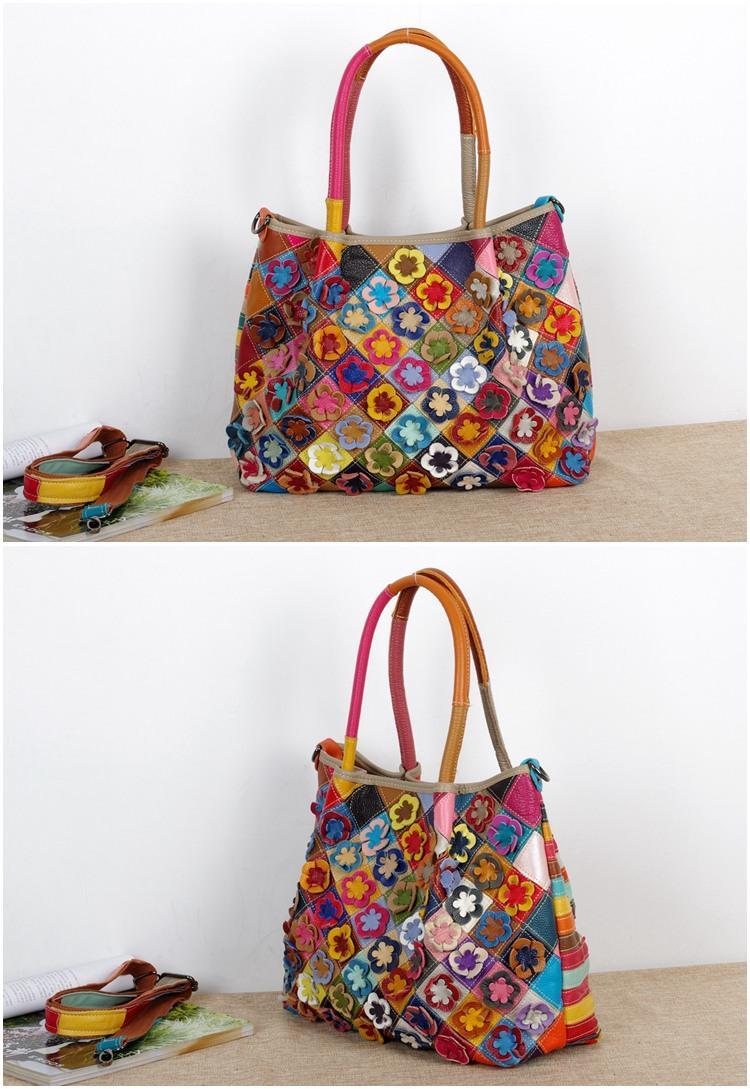 Charakteristische ethnische Art Leder Handtaschen Fabrik Großhandel Agent Bunte Blumen Hit Farbbeutel Schulter Messenger Frauen Taschen