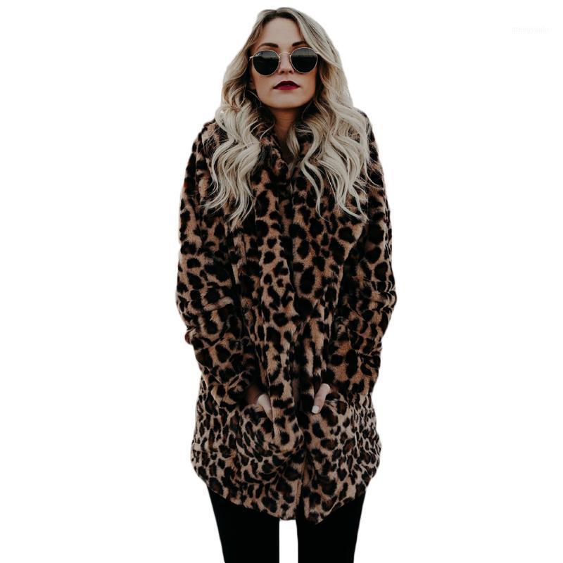 Atacado-Yjsfg House Alta Qualidade Luxo Casaco de pele falso para mulheres casaco de inverno moda quente leopardo peles artificiais casaco