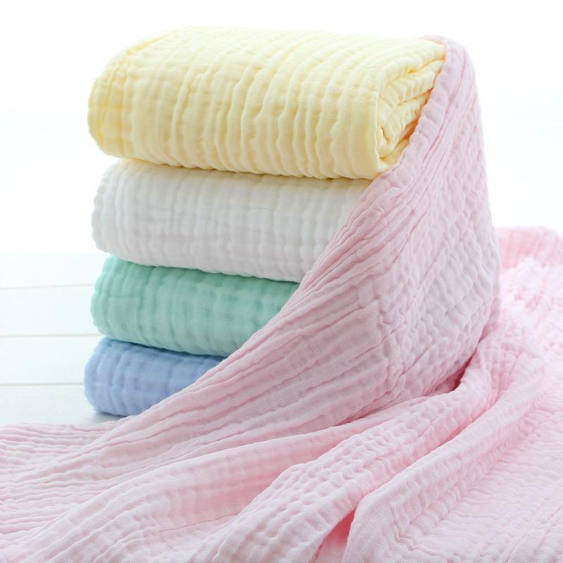 6 camadas cor sólida Baby Bath Towel Muslin 100% Algodão Toalhas Neonatal Criança Absorver Blanket Swaddle Wrap Bedding 110 * 110 cm Z1207