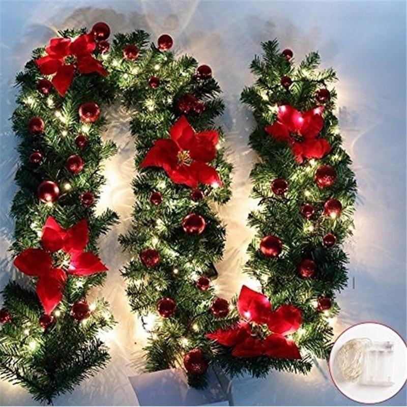 Decoraciones de Navidad Decoración de guirnalda Decoración de ratán luces Guirnalda Mantel Chimenea Escaleras Puerta de pared Pino Árbol de Navidad LED Decoración de luz