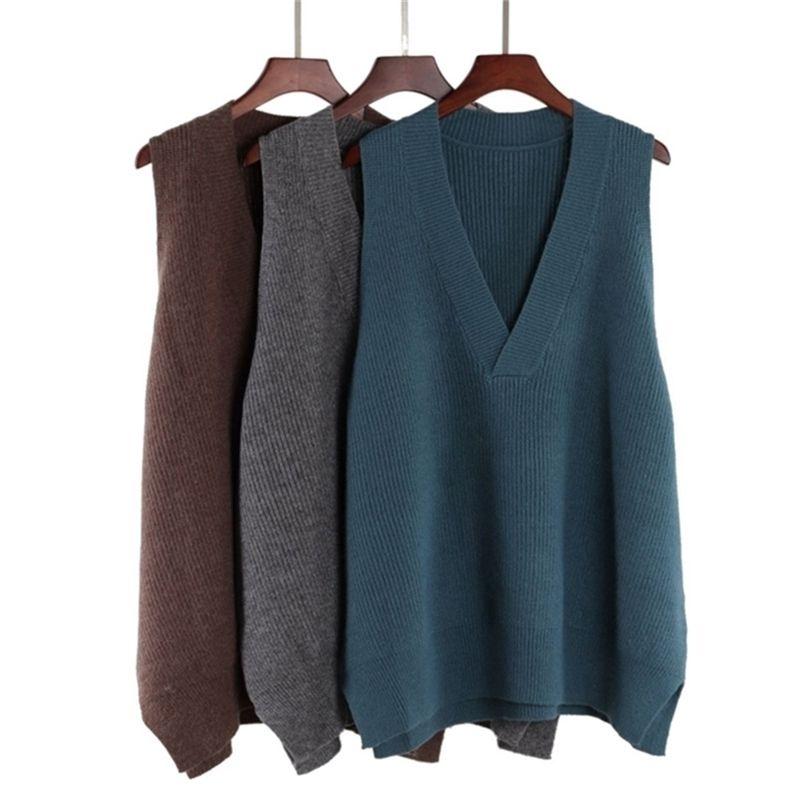 Bygouby Femmes Vest Oversize V Couleur Pull Pull Sweater Medium Long Tricoté Top Y201128