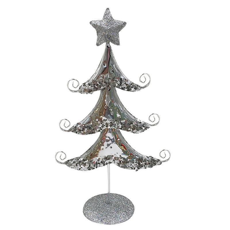 Рождественские украшения 1 шт. Золотое серебро мини-дерево искусственное настольное орнамент железо украшения ремесло рождественские макеты
