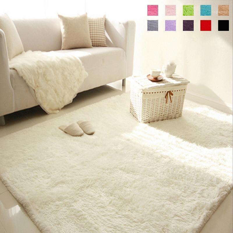 Мягкий пушистый мохналый прямоугольник ковер ковров коврик для пола живущая комната декоративное одеяло область коврик сплошной цвет белый бежевый розовый кофе черный1