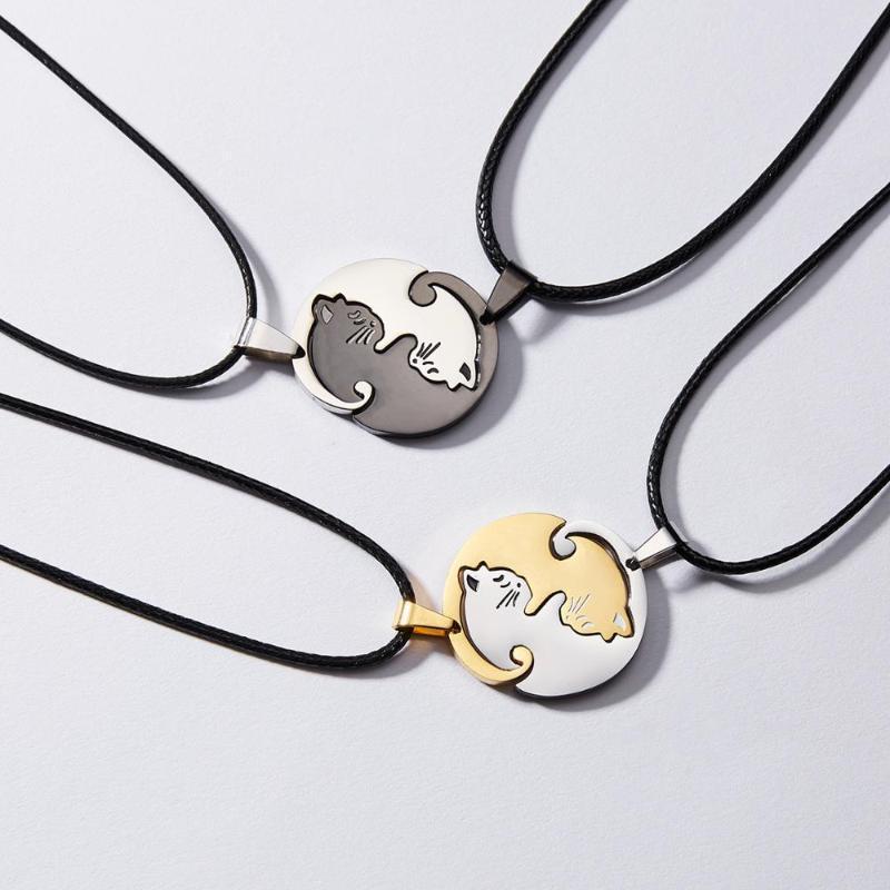 Collana del gatto delle coppie Yin Yang Acciaio inossidabile Acciaio inossidabile Cuore rotondo del pendente del pendente della giunzione del ciondolo del ciondolo del ciondolo del gatto per gli amanti delle donne