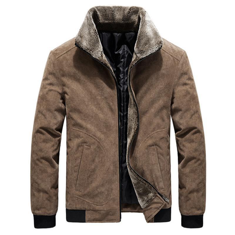 Hiver Casual Casual Couleur Solide Coton Grand Taille Veste pour hommes Épaissir Coat