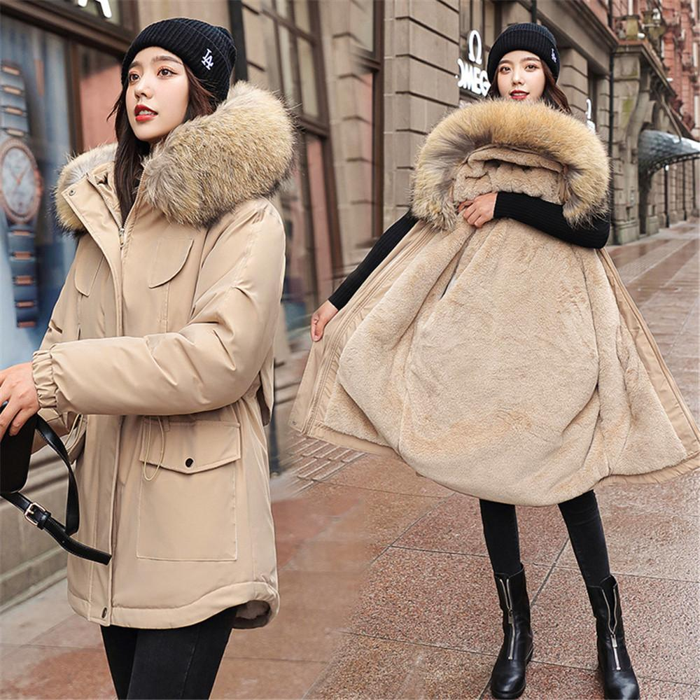 Cotton Thicken Warm Winter Jacket Coat Women Casual Parkas Fur Lining Pockets Fur Collar Warm Hooded Parka Mujer Coats 210203