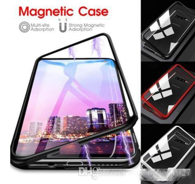 360 Degree Full Magnetic Case For Samsung Galaxy S8 S9 S10 Plus S10e Front Back Double Glass Glass Case Cover S10 Note 8 9 A60 A50 A70 Case