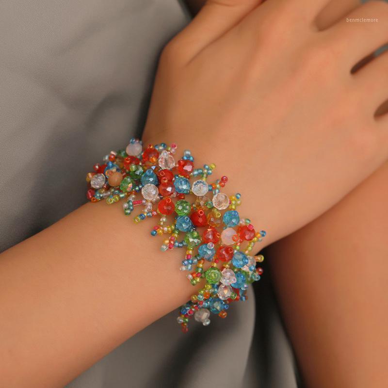 Charm Bracelets Grupo étnico Viento Colorido Piedra Natural Grava Bohemia Cristal La Fuerza Elástica Hueco para Mujeres1