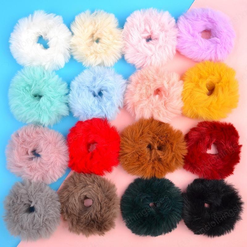 Girls Screunchies Сплошные галстуки для волос эластичные волосы шерстяные меховые волосы полоса для волос теплый резиновый хвостный держатель для волос аксессуары 16 цветов