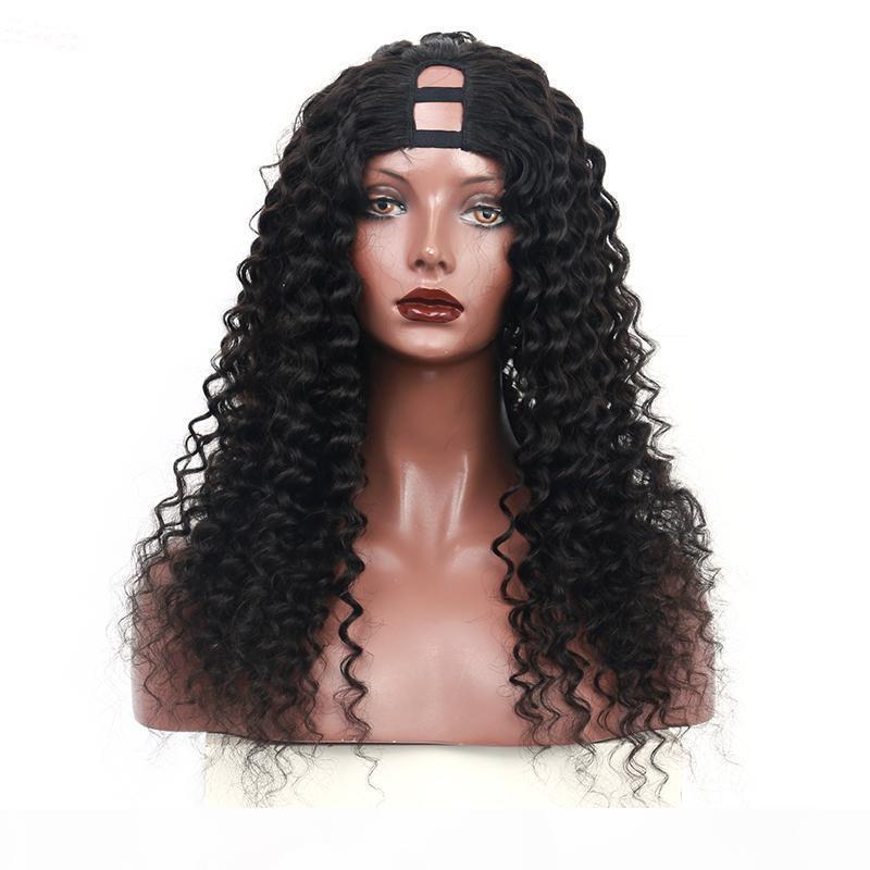 Brazilian Loose Curly U Part Wig Human Hair Wigs 250% Density Deep Virgin Hair Natural Color Wave Upart Wigs for Black Women