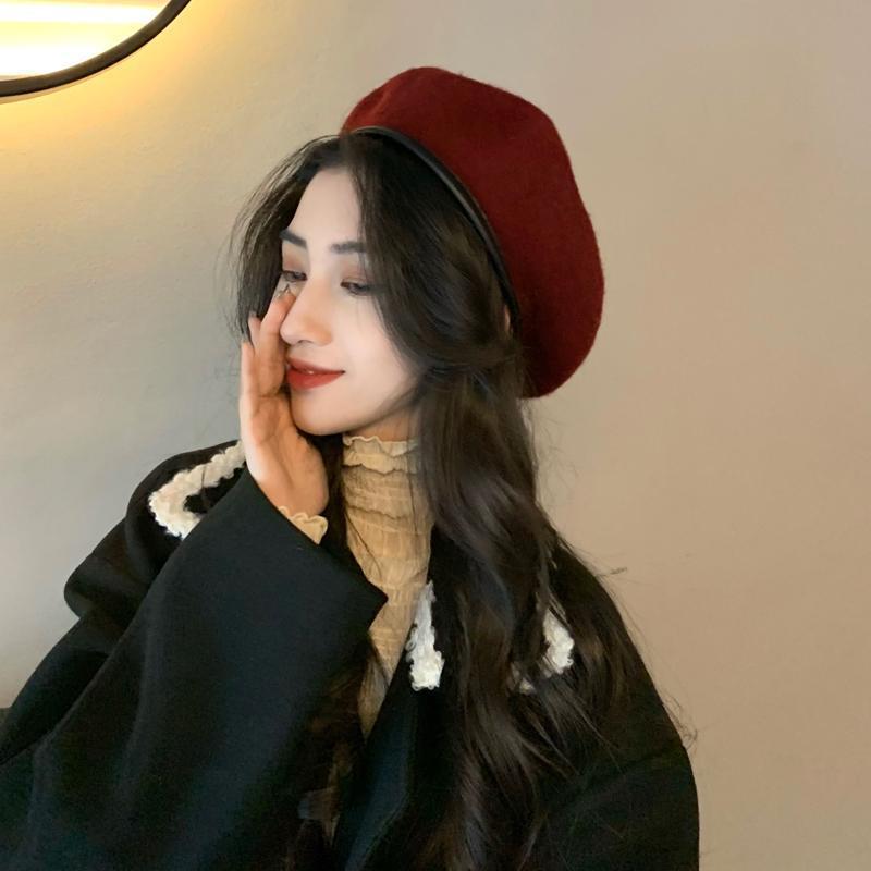 Bere şapka yün sıcak kış bere retro vintage ressam şapka