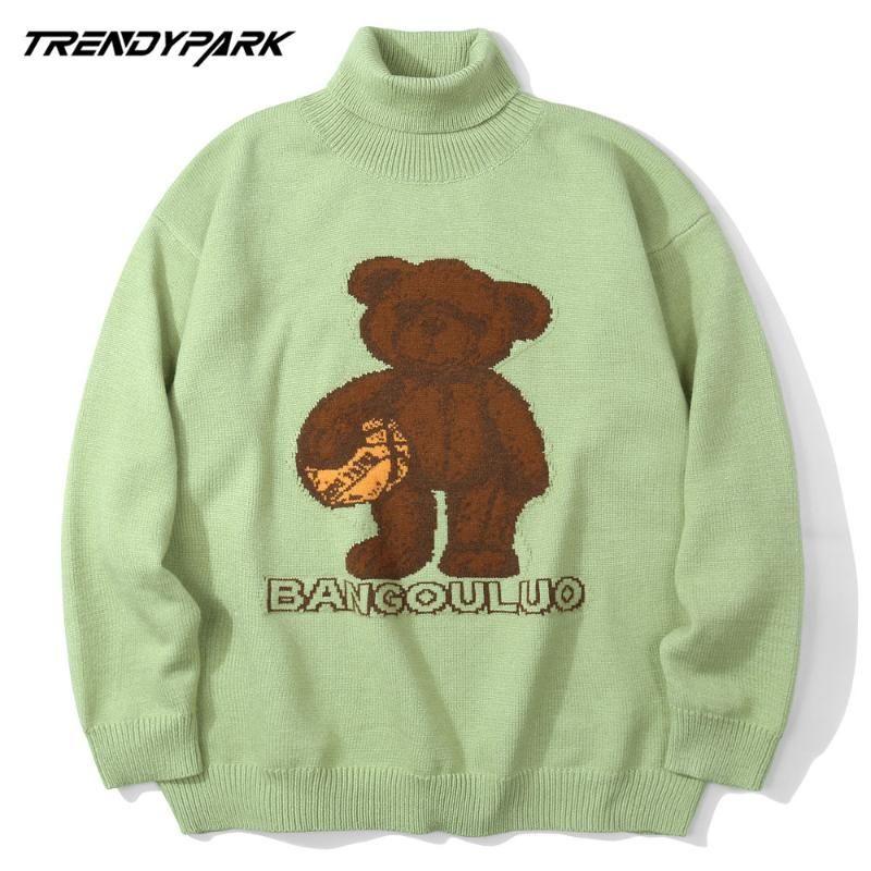 남자 스웨터 2021 남자 Turtelneck 목 스웨터 풀오버 만화 곰 인쇄 니트 소프트 빽빽한 streetwear 힙합 점퍼