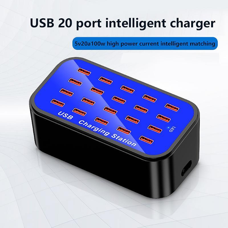 Hubs 20ports USB HUB شاحن ذكي عالية الطاقة محطة شحن سريع للكمبيوتر اللوحي