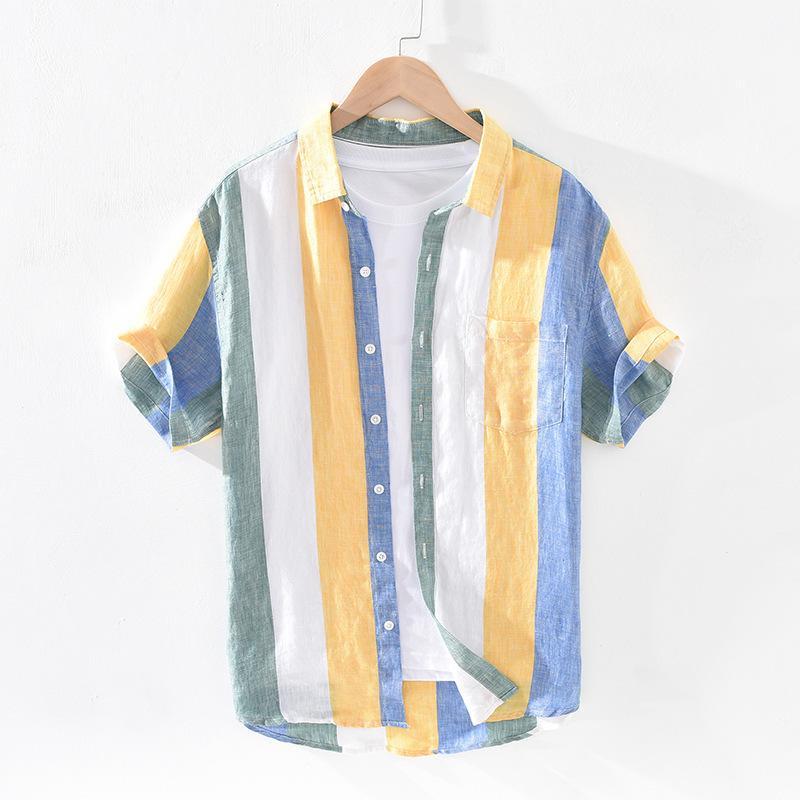 Homens verão moda japão estilo brilhante cor listrada manga curta solteira camisa de breasted masculino casual linho puro alta qualidade topo c1212