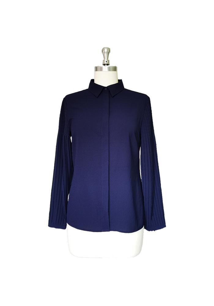 Новая мода женщины плиссированные длинные рукава повседневная рубашка блузка размер T0-T1