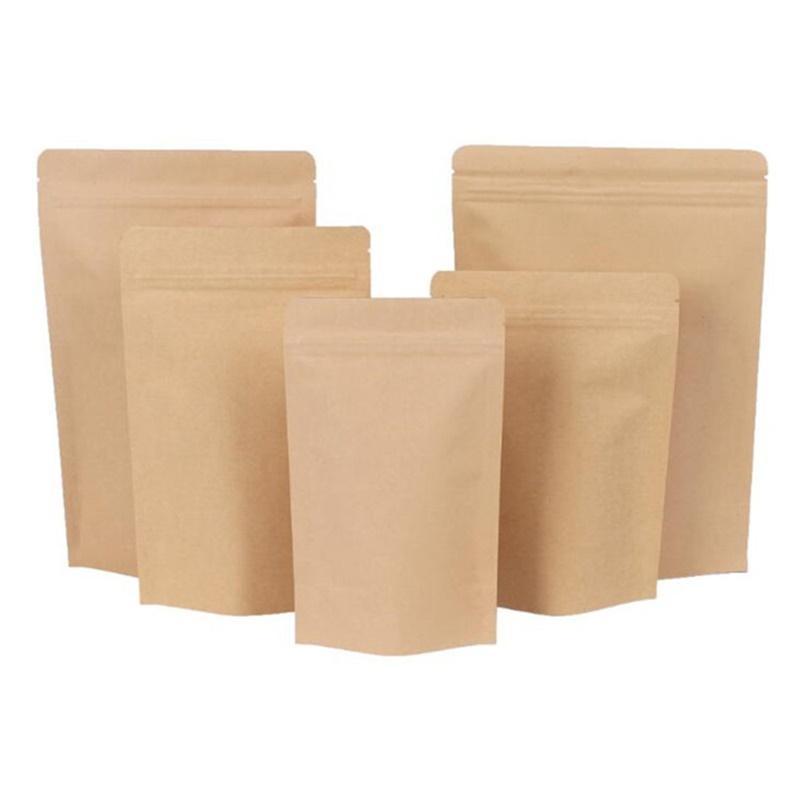 11 Tamanhos Brown Kraft Papel Stand-up Bolsas De Calor Selábico Soluçável Bolsa De Zip Inner Foil Food Armazenamento Embalagem Bolsa De Embalagem Com Lágrama NOTC 4 L2