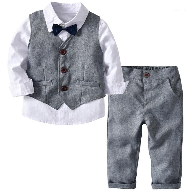 Erkek Düğün Takım Elbise Çocuk Giysileri Yürüyor Örgün Çocuklar Suit Çocuk Giyim Gri Yelek + Gömlek + Pantolon Erkek Kıyafet Bebek Giysileri1