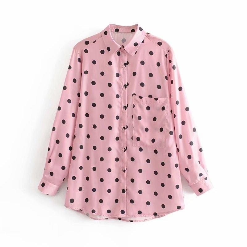 Chemise à manches longues Femmes Blouse lâche Automne Nouveau mode Polka Dot Printes Pink Shirts Blouse Modern Dame Casual Wide Tops Y200402