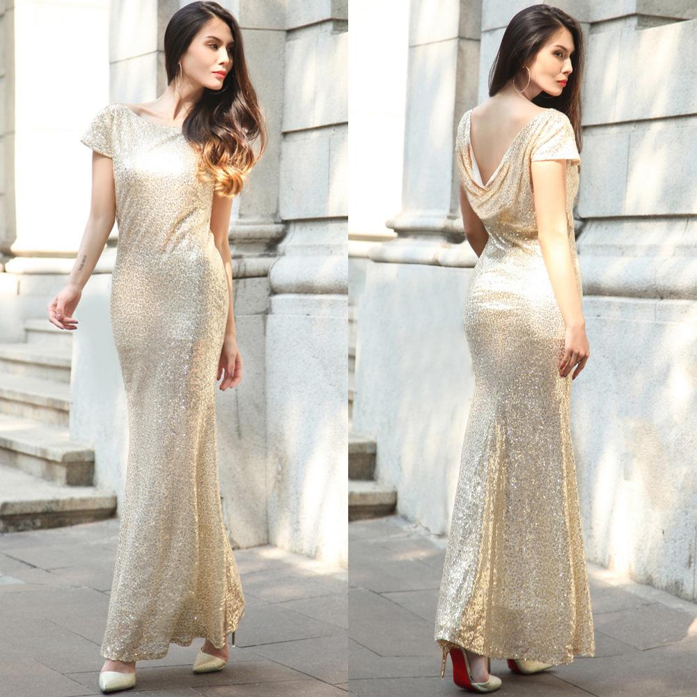 Summer Women's Fashionable Bridesmaids'Evening Dresses Sequined Long Skirts and Dresses