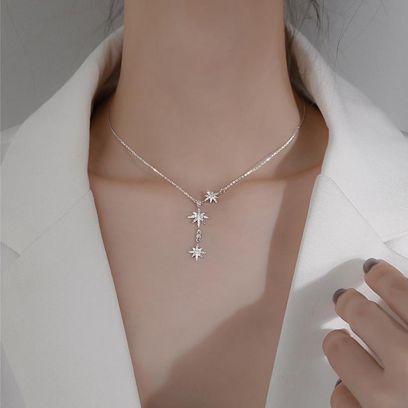Suspension tendance Chaîne Collier Shaine Zircon 925 Sterling Meteor Bijoux en argent pour femmes cadeau d'anniversaire de mariage