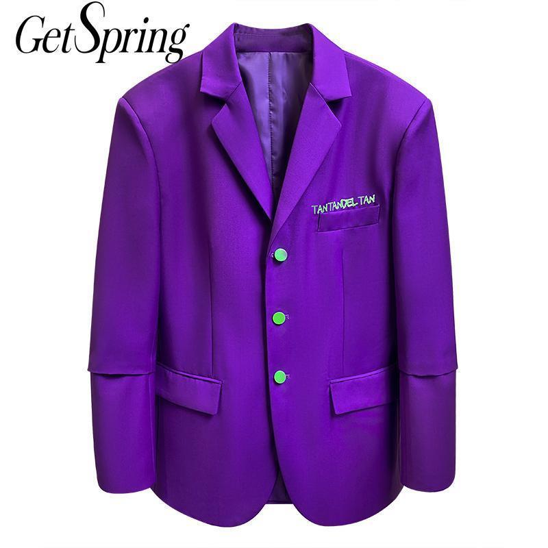 Getspring Mujeres Blazer Vintage Púrpura Mujeres Blazers Chaquetas Chaquetas Casual Blazers de manga larga Todos Match Fashion Traje Abrigos 2020 x1214