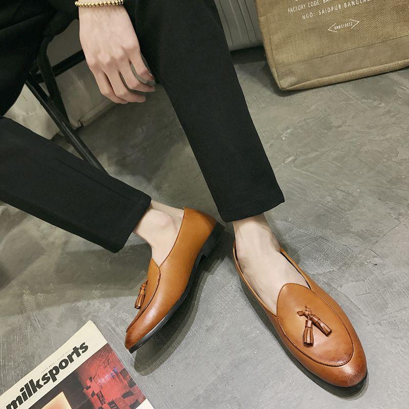 Moda hombres cuero zapatos vintage tassel club fiesta zapatos casuales clásico masculino borla zapatos zapatos zapatos de hombre