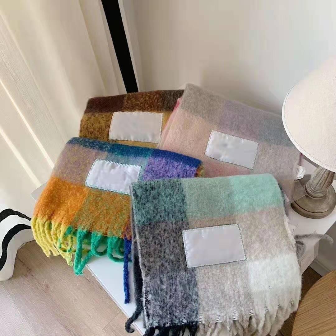 Sciarpa di lana Nuovo Scialle frangiata griglia arcobaleno per maschio e femmina nuova moda plaid spessa marca scialli e sciarpe per le donne