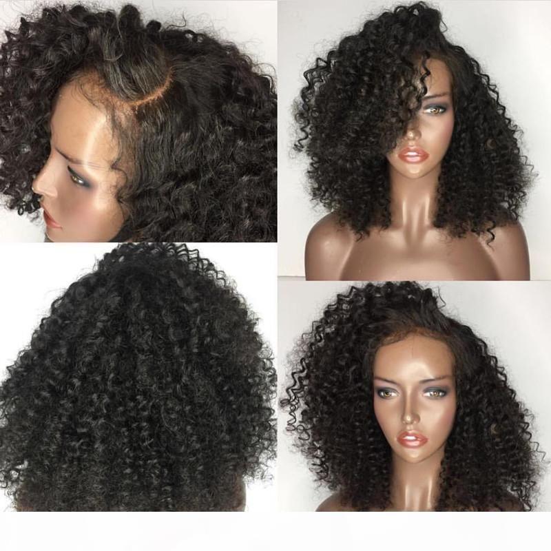 5 * 4.5 Ipek Bankası Tam Dantel Peruk Ile Bebek Saç Ön Preeklu Brezilyalı Remy Kinky Kıvırcık Siyah Kadınlar Için Tam Dantel İnsan Saç Peruk