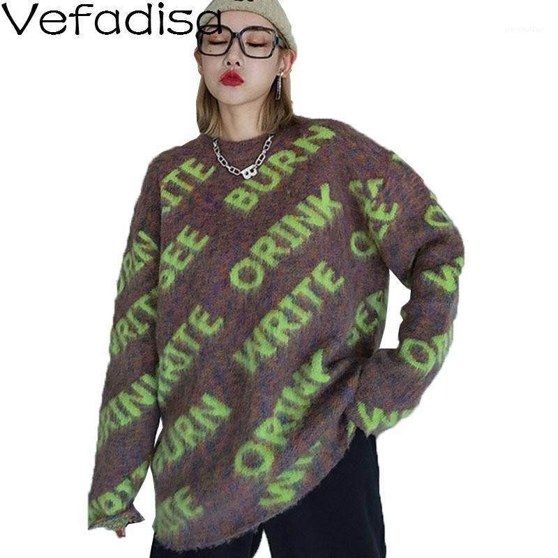 Vefadisa Черная коричневая буква Печать Женщины Свитер 2021 Весенние Пуловеры Трикотажное пальто О-Вырезы Случайные Женщины Свободные QYF47581