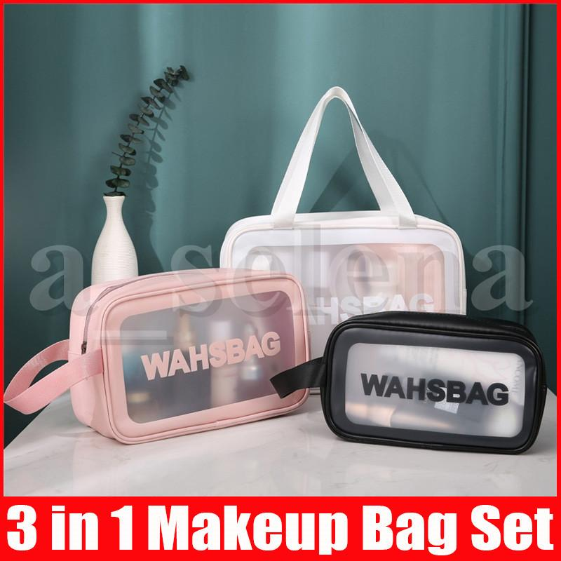 Fashion 3pcs/set Women Makeup bags Transparent Cosmetic Bag for Girl Zipper Women Handbag Large Capacity Female Wash Bag Set