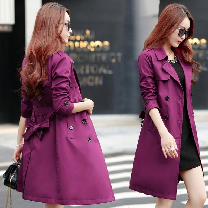 여성의 트렌치 코트 윈드 브레이커 여성 긴 섹션 영국 2021 봄의 한국어 버전의 얇은 대형 야생 숙녀 재킷 가을 tre