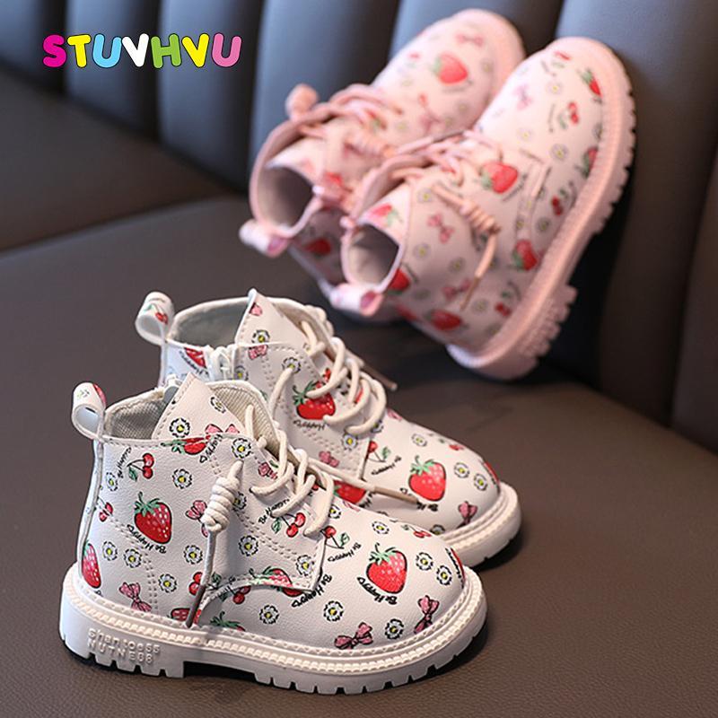 2020 Kış Çocuk Botları Kızlar Ayakkabı Karikatür Çilek Baskı Çocuk Çizmeler Kalınlaşmak Kadife Sıcak Kızlar Martin Çizmeler Prenses Ayakkabı J1209
