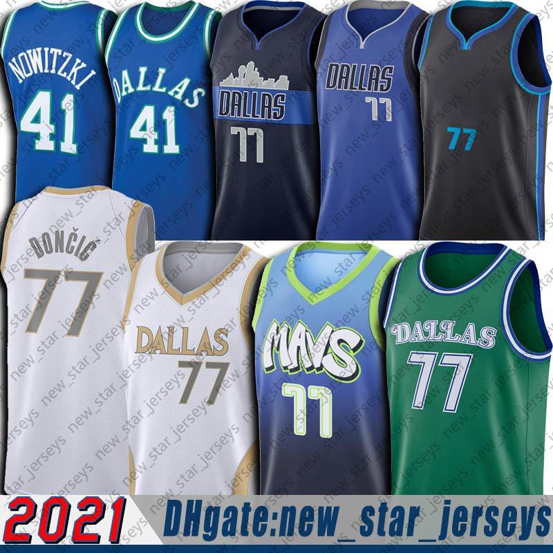 Luka 77 Basketbol Doncic Jersey Retro Gerileme Vintage Dirk 41 Nowitzki Formalar 2021 Şehir Basketbol Üniforması